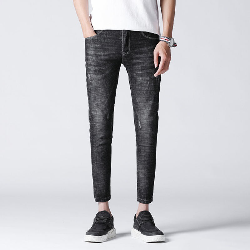 628 # New Style Jeans MEN'S Ninth Pants Elasticity Korean-style Skinny Pants 9 Pants