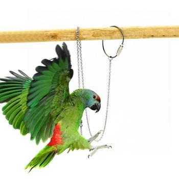 Ptak papuga łańcuszek na kostkę ze stali nierdzewnej kostki stóp stojak pierścieniowy łańcuch odkryty szkolenie w powietrzu akcesoria dla ptaków S M L XL tanie i dobre opinie TAONMEISU Ptak Stóp Pierścienie Parrot Foot Ring STAINLESS STEEL