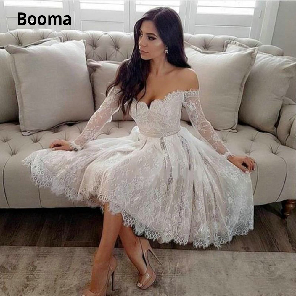 Booma Elegant A-line Short Wedding Dresses Lace Off Shoulder Long Sleeves Sweetheart Beach Princess Bridal Gowns Back Lacing