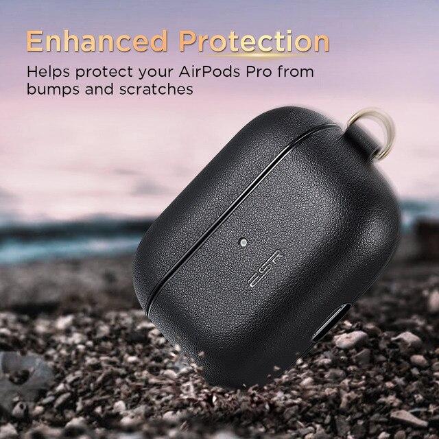 ESR étui en cuir pour AirPods Pro porte-clés crochet housse antichoc pour AirPods 3 housse noir marron luxe en cuir véritable
