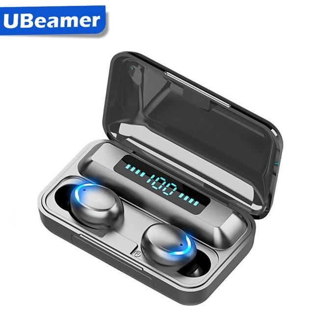 Ubeamer kablosuz kulaklık dokunmatik kontrol, LED ekran, gürültü iptal kulaklık, su geçirmez, en iyi Bluetooth F9 insan mikrofonlu kulaklık
