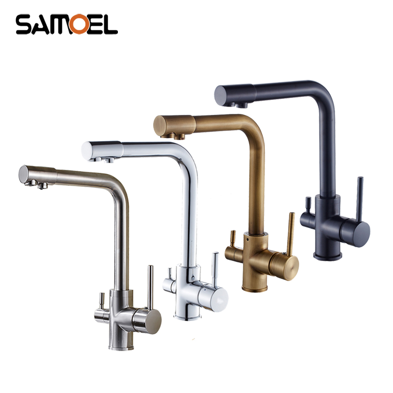 Modern Brass Golden Kitchen Faucet Mixers Dual Handle Gold 3 Way Sink Cold Hot Purified Water Taps B3350