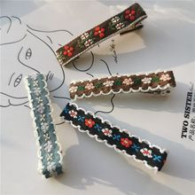 Hair Accessor Hair Clips Embroidery Slides 5.5cm Retro  Vogue Flower   Clips