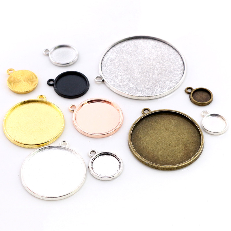 8-40mm Inner Size Classic 7 Colors Plated One Sided Single Hanging Simple Style Cabochon Base Setting Charms Pendant