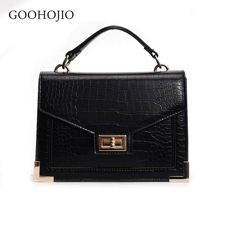 GOOHOJIO Fashion Female Square Bag 2019 New Quality PU Leather Women Bag Crocodile Pattern Tote Bag Lock Shoulder Messenger Bags