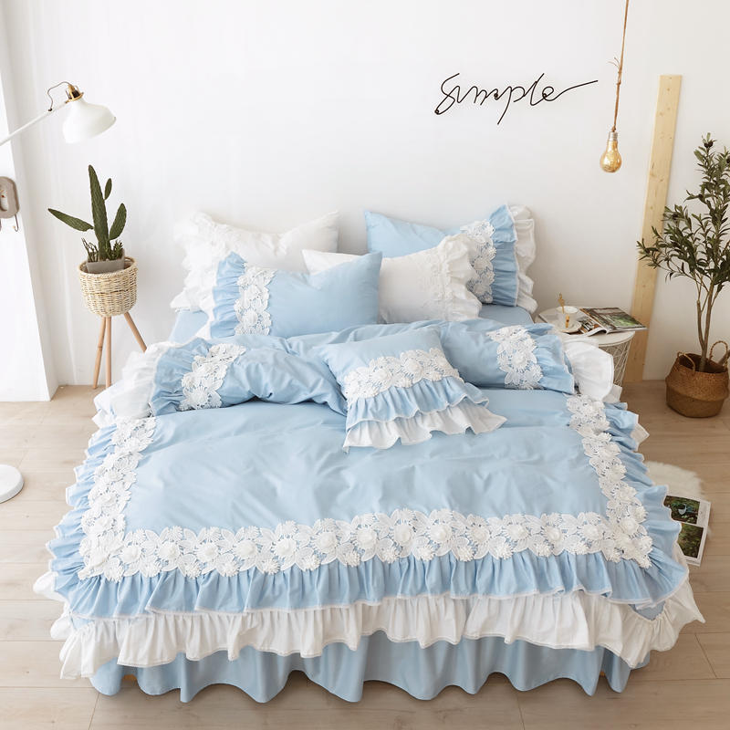 100%Cotton Bed Linen Sets King Size Blue Duvet Cover Bed Skirt Pillowcase for Princess Room Korean Lace Bedding Set Luxury