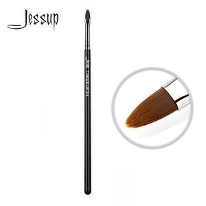 Jessup New Lip brush Black/Silver Makeup tools tongue shape Makeup brush Professional Synthetic hair(China)