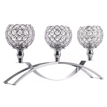 Silver Crystal Candle Holders 3 Holders Iron Candelabra Holder Coffee Table Decorative Centerpieces for Living Room Dinning Deco