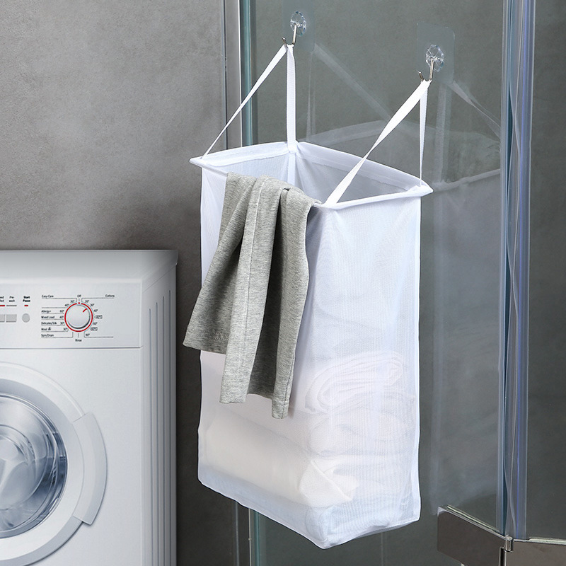 Household Wall Mounted Laundry Basket Dirty Clothes Storage Basket Toy Bathroom Breathable Mesh Bathroom Clothes Storage Baskets