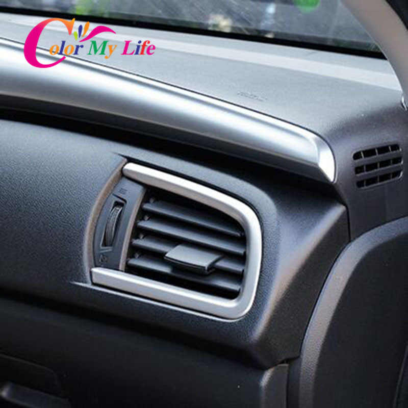 ABS Chrome Air Vent Trim Sticker Auto Airconditioning Outlet Cover Stickers voor Honda Nieuwe Stad 2014 2015 2016 LHD auto Styling