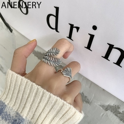 ANENJERY 925 Sterling Silver Leaf Ring for Women Handmake Thai Silver Rings Elegance Simplicity Open Ring S-R994