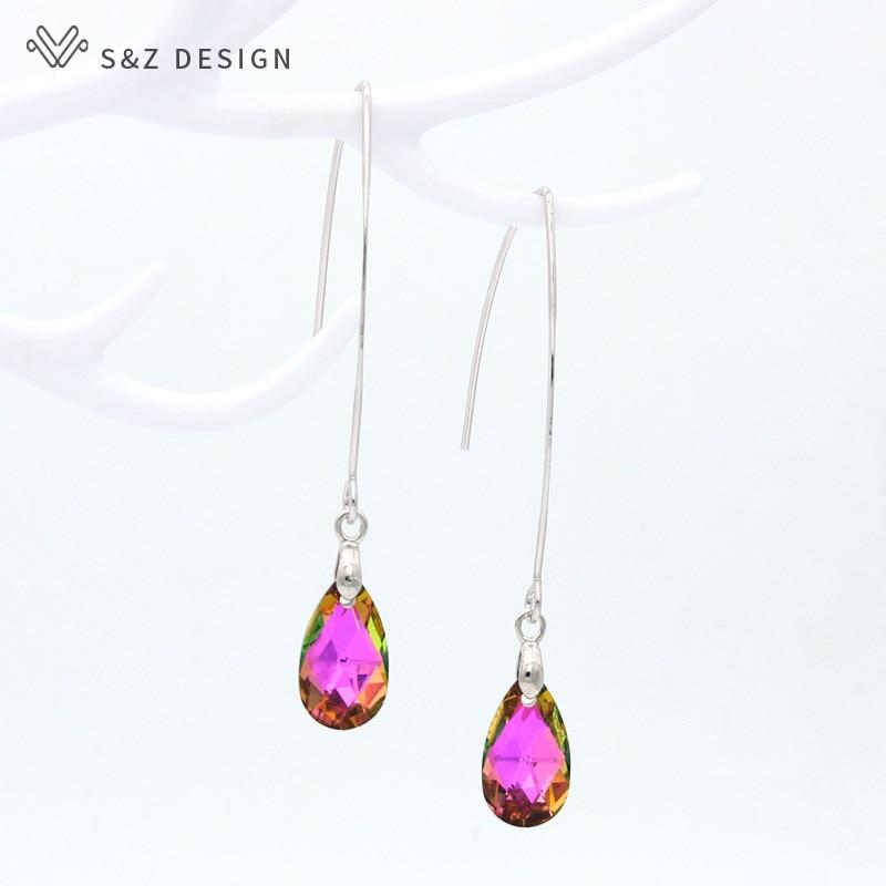 S&Z DESIGN New Korean Fashion White Gold Water Drop Crystal Dangle Earrings Simple Long Ear Hook For Women Party Jewelry Gift