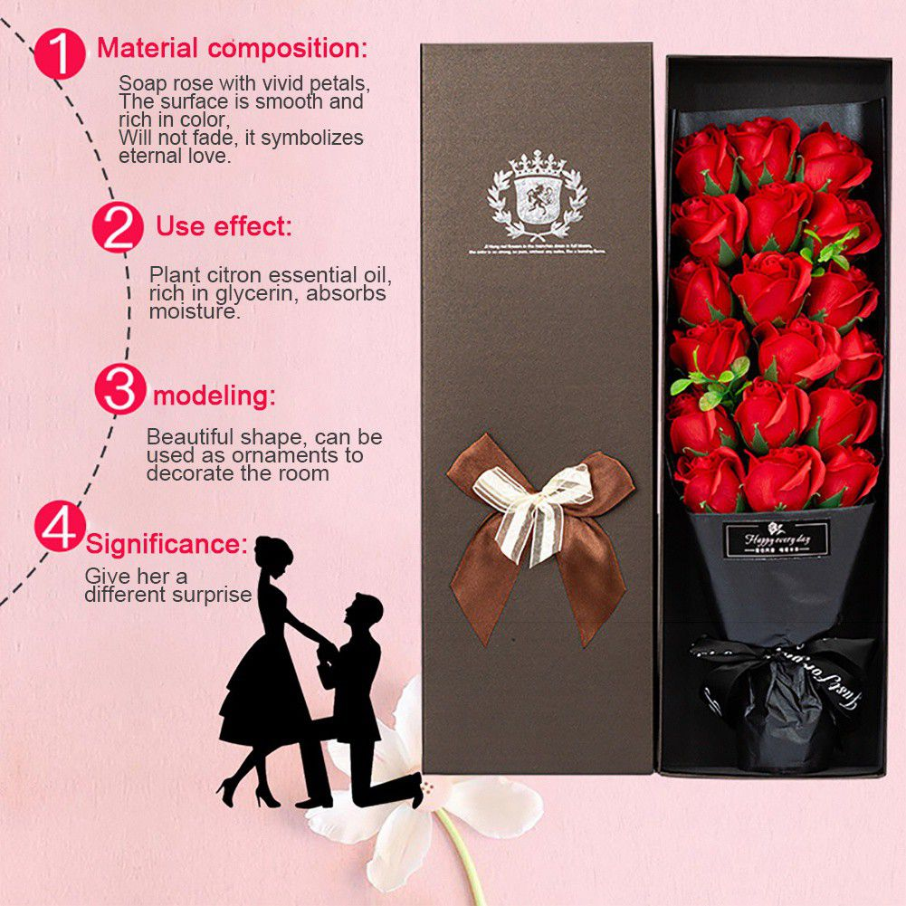 18 Rose Soap Bouquet Gift Box - novariancreations.com