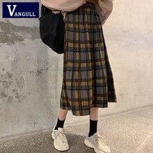 Vangull elástico de cintura alta xadrez saia feminina versão coreana primavera outono nova magro saia plissada mid-length feminino saia vintage