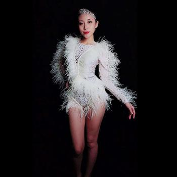Women Stretch Rhinestones Leotard White Feather Sleeve Stage Bodysuit Nightclub Dj Dancer Jumpsuits Performance Outfits