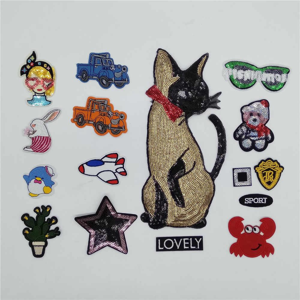Pegatinas de dibujos animados para ropa Parches letras parche para lentejuelas bolso Parches para ropa tela de hierro rayas mochila insignias