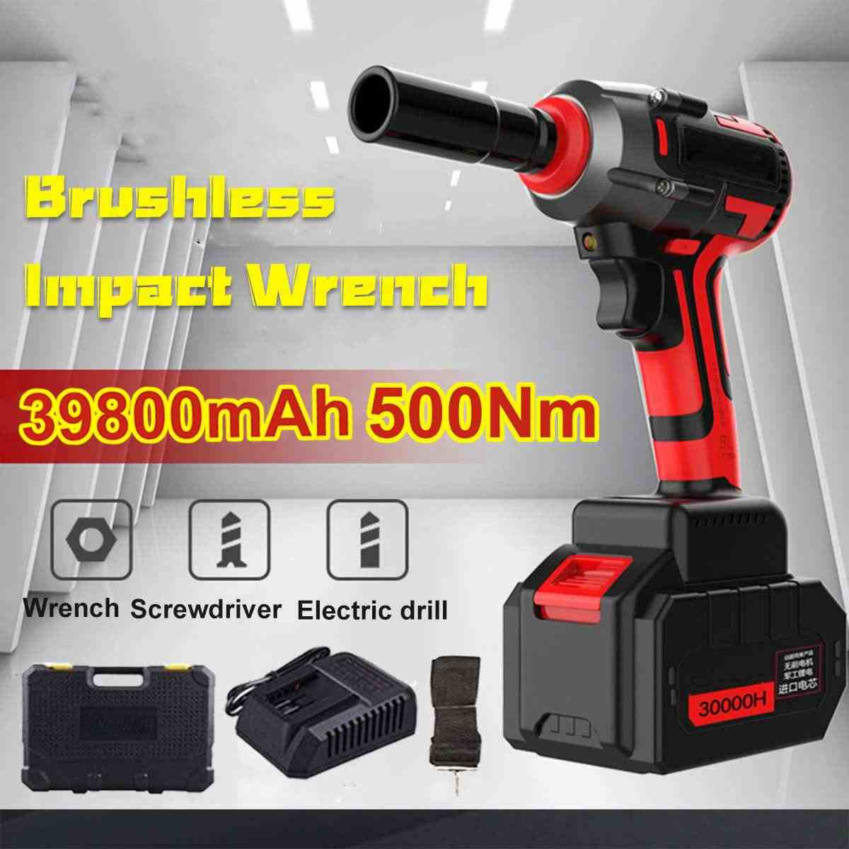 New Wrench Electric Torque Wrench Impact Socket Wrench 39800mAh 500 N.m Torque Impact Wrench 220v Brushless Car Electric Tools