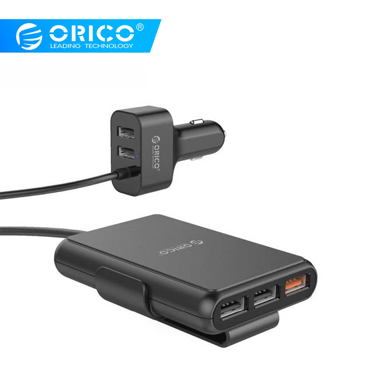 ORICO 5 Port QC3.0 USB Car Charger Universal USB Charger Adapter 52W For MPV Car Mobile Phones Tablet PC 12V-24V
