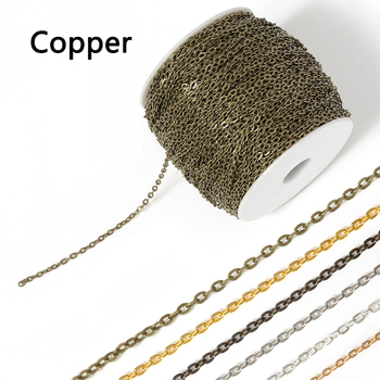 5meter/lot Fine Copper O-chains Link Cable Chains Roll for Necklace Bracelets Jewelry Accessories DIY Making Wholesale