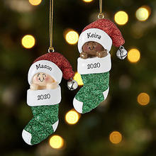 2020 Christmas Tree Hanging Pendants Ornaments Family Personalized Diy Names Holiday Decoration Pendants Baby Label Pendants