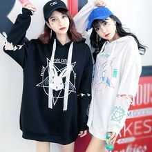 Harajuku Style Women Sweatshirt Rabbit Pentacle Print Lace Up Hoodies Casual Loose Long Sleeve