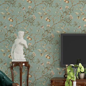 Vintage Floral Wallpaper Mural Non-woven Classical Pastoral Vine Flower Bird Wall Paper Retro Living Room Decor Wallcovering 3d flower floral wallpaper roll contact paper non woven embossed pink wallpaper for girls bedroom living room decor wallcovering