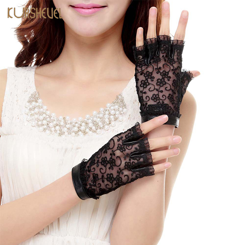 Fashion Summer Women Genuine Leather Gloves Female Black Sunscreen Lace Mittens Ladies Fingerless Leather Driving Gloves AGB556