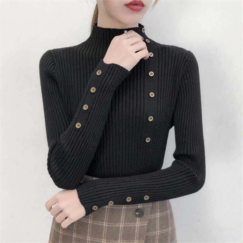 2020 여성 가을 니트 슬림 스웨터 솔리드 니트 여성 코 튼 소프트 탄성 컬러 풀 오버 단추 전체 슬리브 터틀 넥