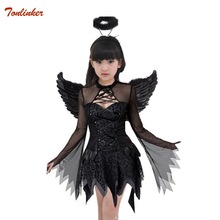 halloween witch costume for girl vampire tutu dress with headband bat wings children child fancy Outfit 3pcs