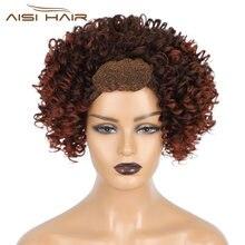 Волосы aisi 14 дюймов красный парик с головной повязкой афро
