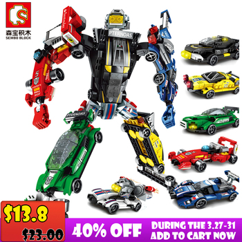 Sembo Block Transformation Building Blocks Compatible Major Brands City Trucks Car Helicopter Brick Toy For Children lepin 06052 1010pcs ninja super hero explosive device hulkbuster building block compatible 70615 brick toy
