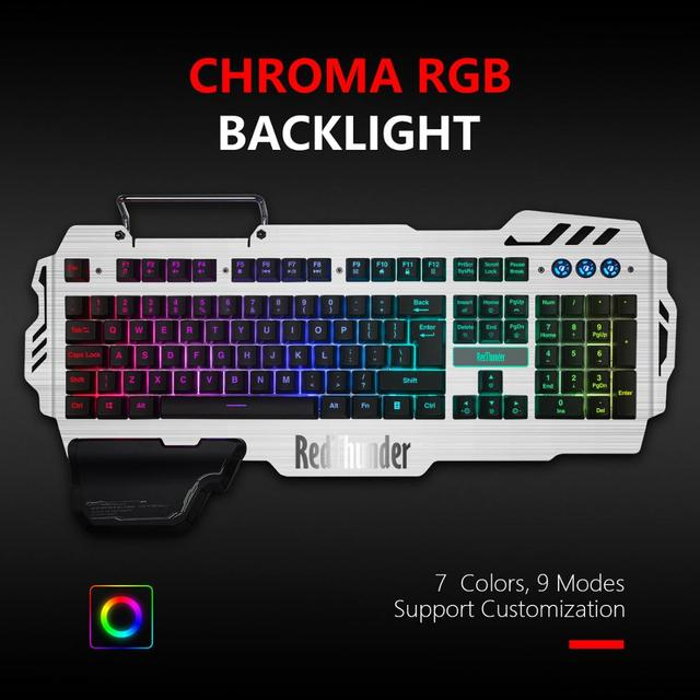 RedThunder K900 RGB Gaming Keyboard and Mouse, Sim-Mechanical Metal Cover, 6400DPI 7 Programmable Button for PC  RU ES FR 5
