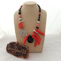 19.5 Black Onyx Pink Coral Cz Pave Connector Necklace
