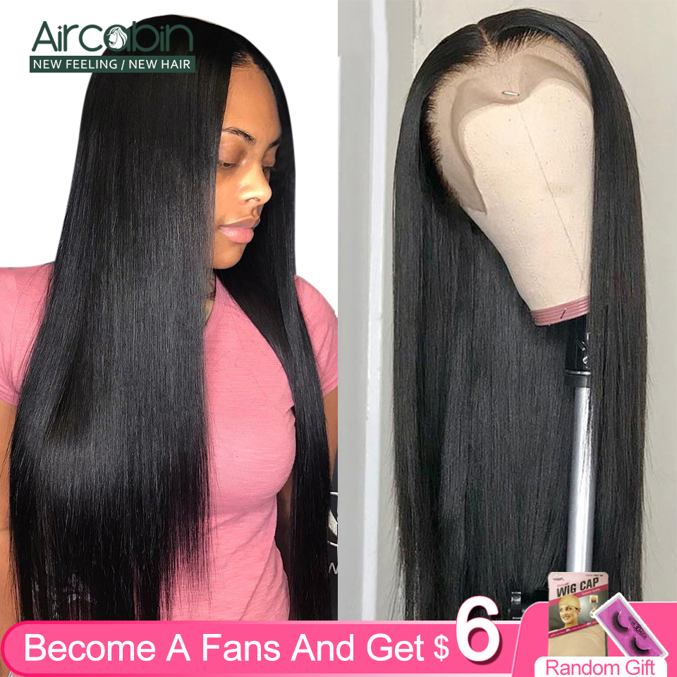 Aircabin Brazilian Straight Wigs Remy Human Hair Glueless 13x4 Lace Frontal Closure Wigs For Black Women 150 High Density