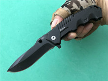 BF-LG Steel HY217 Folding blade knife 7Cr17 steel Plain Manual opening EDC pocket All Black  FBA Tactical knives