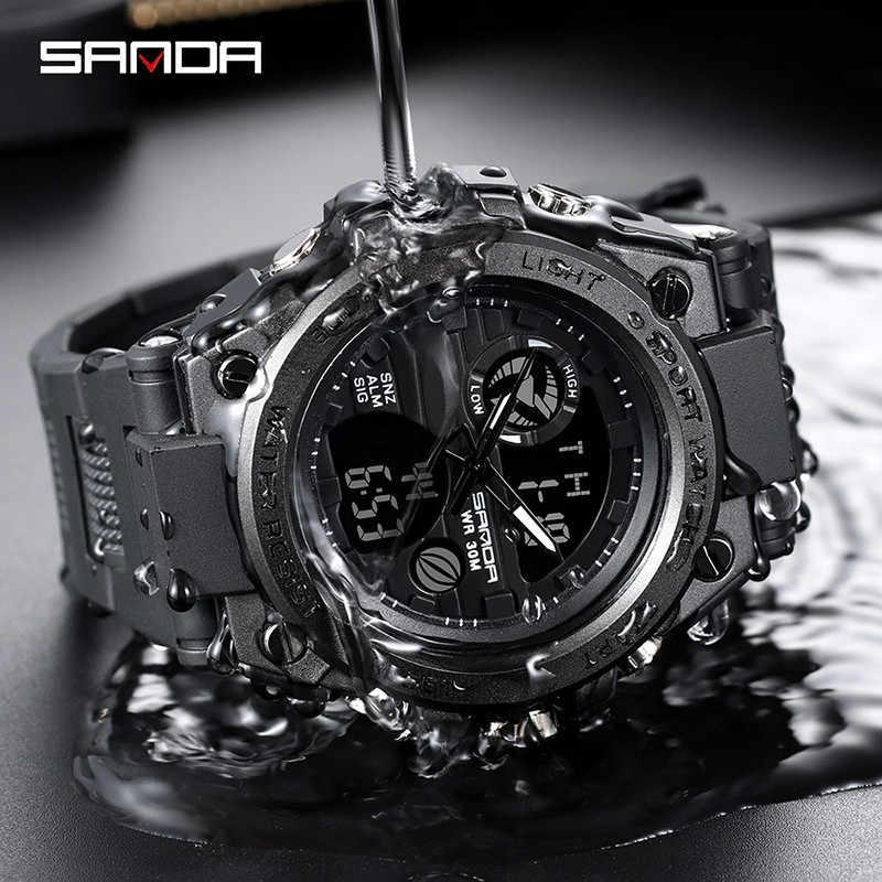 Sanda זהב גברים של אופנה רב תכליתי אלקטרוני שעון חיצוני ספורט כפול תצוגה עמיד למים שעון דיגיטלי זוהר