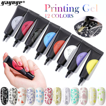 YAYOGE 8ml Nail Stamping Gel Polish stamping Varnish Stamp Print Oil Soak Off UV Gel for Nail Art Stamping Plate Manicure