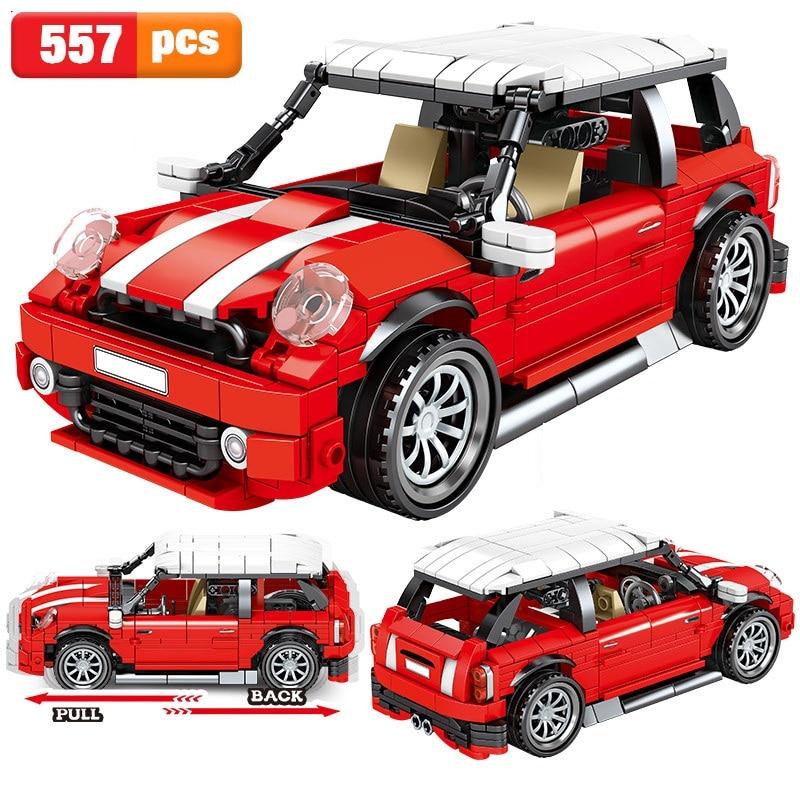 2021 эксперт-создатель, оттягивающий классический мини красный автомобиль, наборы строительных блоков, кирпичи, модель для детей, подарки, со...