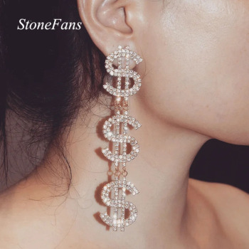 Dollar Signs Crystal Earrings 1
