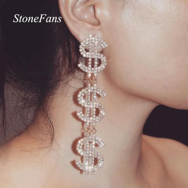 Dollar Signs Crystal Earrings 1