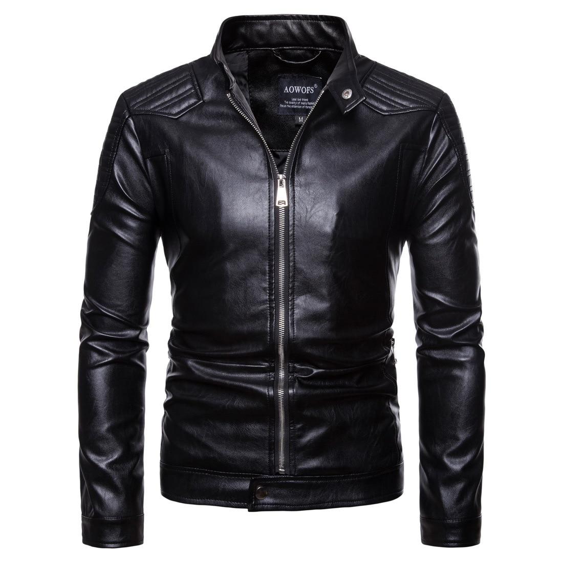 Ouma 19 New Style Men'S Wear Men Locomotive Leather Coat Europe And America Leather Jacket Coat Large Size Leather Coat Py001