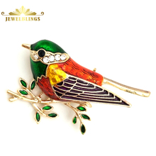 Modern Vintage Green Red Orange Enamel Bird Brooches Gold Tone Branch Leaf Deco Humming Bird Pins Broaches Cute Animal Jewelry