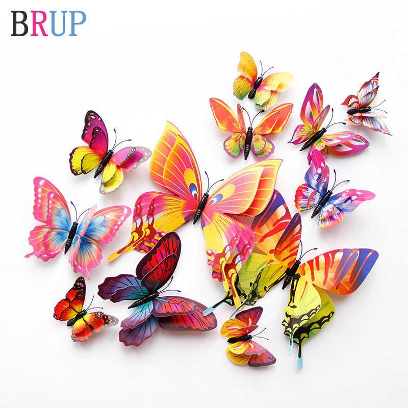 Multi Farbe 3D Doppel Schicht Schmetterling Wand Aufkleber für Home Dekoration Wand Aufkleber Schmetterlinge für Party Wohnzimmer Schlafzimmer