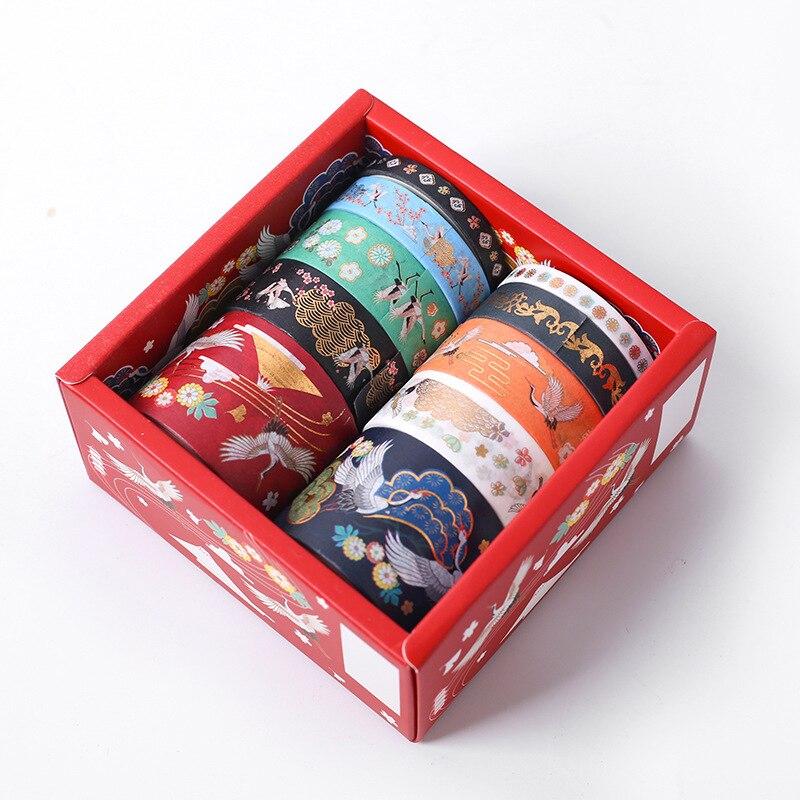 10 Pcs / Set Washi Tape Crane Masking Tape Hot Stamping Washitape Kawaii Stationery Cinta Adhesiva Decorativa Stationery