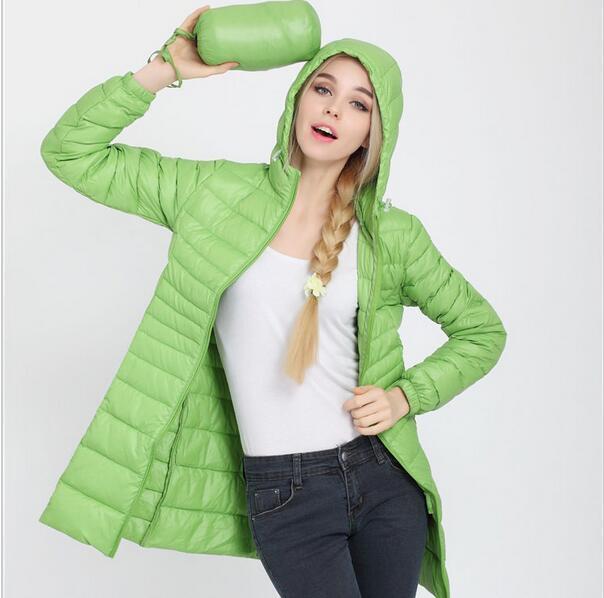 Fitaylor Autumn Winter Women Ultra Light Duck Down Coat Hooded Jackets Slim Medium Long Plus Size Parkas Thickness Overcoat 2