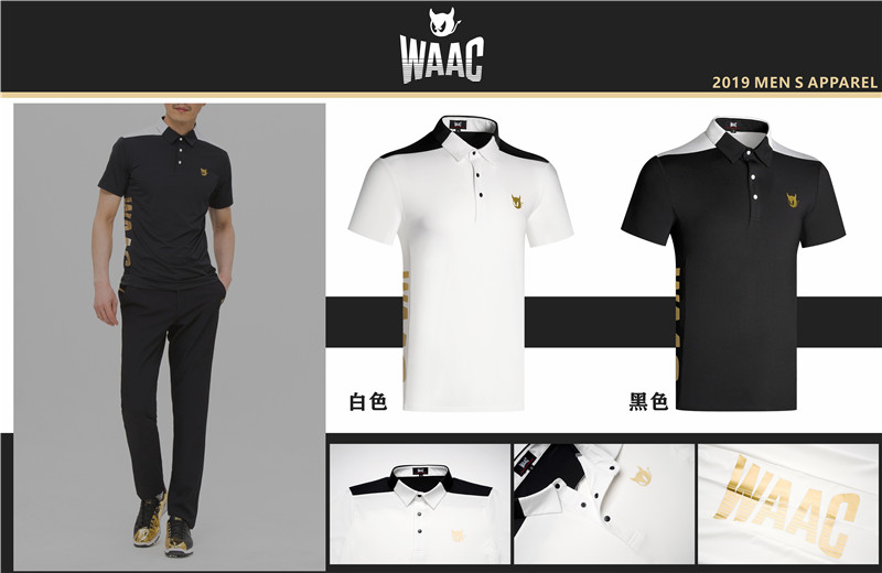 W Men's Sportswear Short Sleeve WAAC Golf Breathable T-Shirt Golf Clothes S-XXL Preferred Casual Golf Shirt Free Shipping