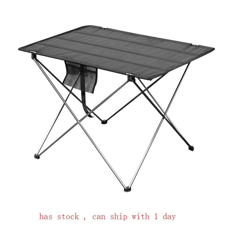 Mesa dobrável portátil para móveis, cama para acampamento ao ar livre computador piquenique 6061 liga de alumínio ultra leve