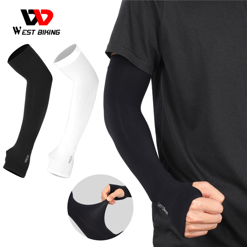 Ice Fabric Running Arm Sleeves UV Protection Breathable Sport WEST BIKING