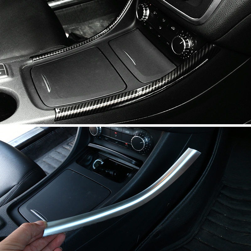 2pcs Car <font><b>Interior</b></font> Center Control Panel Side Strips Cover Sticker Trim For <font><b>Mercedes</b></font> Benz A B CLA GLA Class <font><b>W176</b></font> A180 C117 X156 image