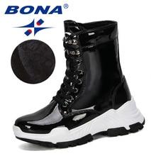 Женские Теплые Ботинки BONA, черные плюшевые кроссовки на платформе, Повседневная Уличная обувь для снега, 2019